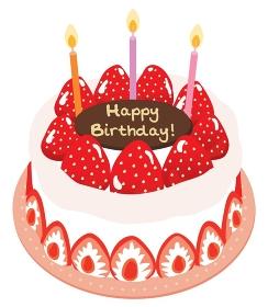 苺がたくさんのった生クリームのお誕生日ケーキ