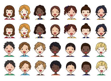色んな国の子供たちの顔のイラストセット