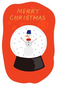 クリスマスカード 雪だるまのスノードーム
