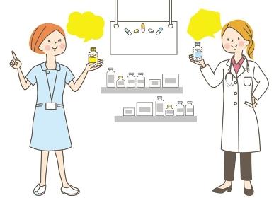 薬局のスタッフとビタミン剤/売り場/POP