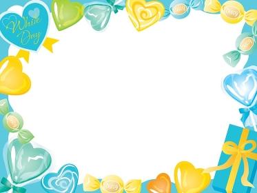 ホワイトデーの青や黄色や緑のキャンディーのフレーム
