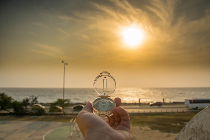 Compass close up with nice sunset, Cartagena, Bolivar, Colombia
