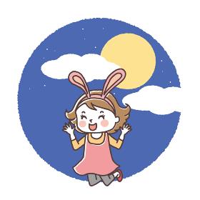 お月見 楽しむ子供12