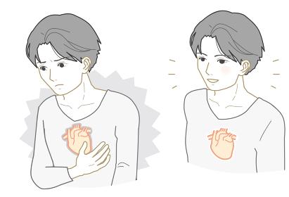 不健康な心臓、健康な心臓の男性