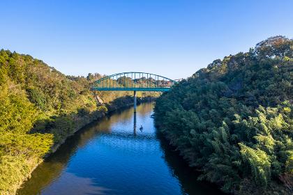 印旛捷水路 山田橋(手前)と市井橋(奥)