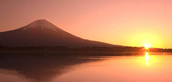 山 湖 日の出