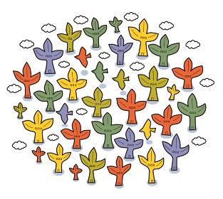 植物を家に見立てたコミュニティーのイメージ