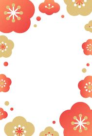 レトログラフィック風 梅の花のフレーム素材(縦向き)