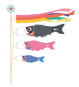 シンプルでおしゃれな鯉のぼりのイラストレーション