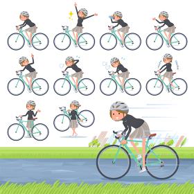 flat type Short hair women_road bike