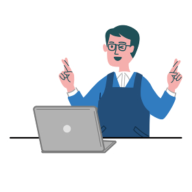 男性 メガネ エプロン 主夫 パソコン 幸運を祈る クロスフィンガー