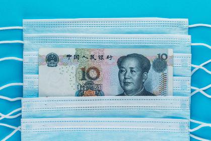 COVID-19 coronavirus in China. Chinese money 10
