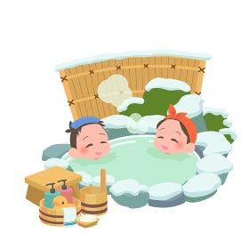 温泉に入る男女 冬