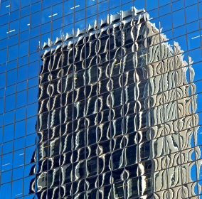 in sydney australia the reflex of the skyscraper in the window like abstract background