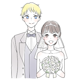 笑顔の新郎新婦(国際結婚)