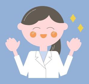白衣でまとめ髪の女性/表情とポーズ・線なし上半身イラスト)喜ぶ・バンザイ・笑顔
