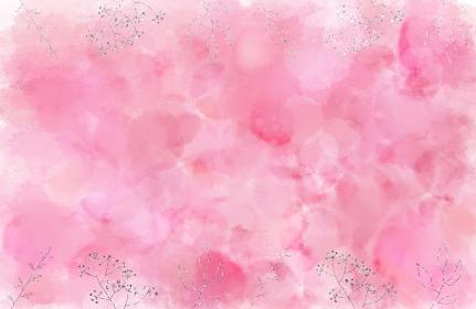 背景素材 水彩絵具のにじみとキラキラした草花 ピンク シルバー