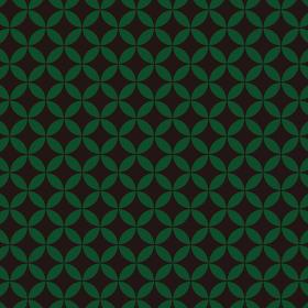 花七宝模様 黒×緑 1