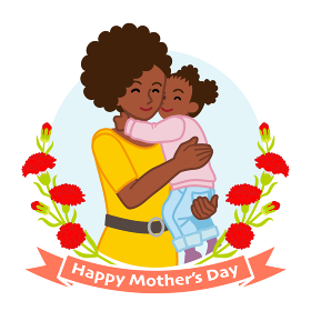 子供を抱きしめるアフリカ系の母親- 母の日コンセプトイラスト