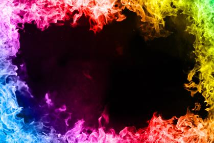レインボーカラーの炎のフレームの背景画像