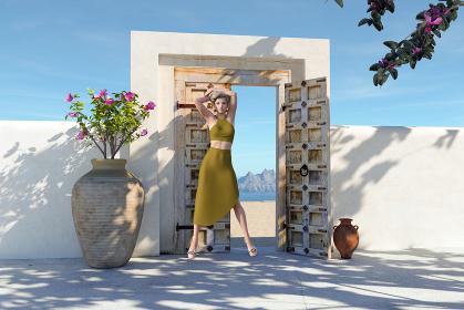 天気のいい青空と白い壁が続く中扉がある前でばんざいをするエキゾチックな女性は仁王立ちで立っている