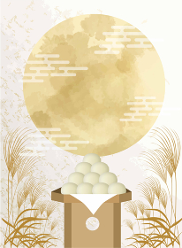 十五夜:水彩風月見とすすき