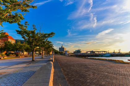 門司港から眺める綺麗な関門海峡の夕焼け