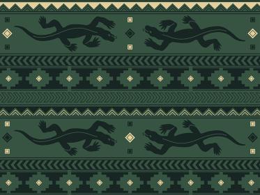 南米の民族風の図形とトカゲのパターン