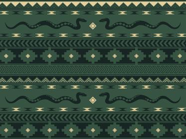 南米の民族風の図形とヘビのパターン