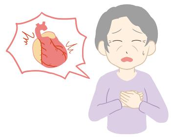 動悸 両手 心臓付き 高齢女性(線無し)