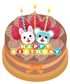 熊とウサギと苺ののったチョコレートのお誕生日ケーキ
