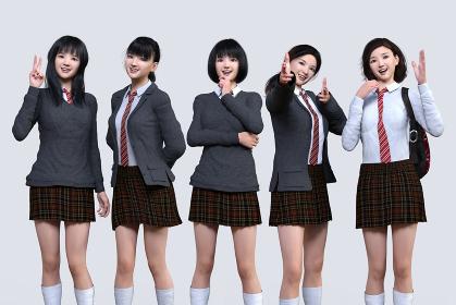 5人のかわいい女子高生がそれぞれにポーズをし受験勉強や部活動に取り組むエネルギー満ちた表情をしている