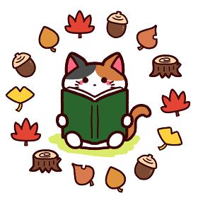 読書の秋 本を読む猫
