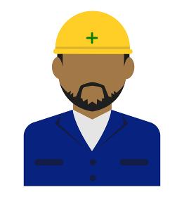 上半身シルエット人物イラスト (アジア人・アラブ人・黒人) / 工事作業員・肉体労働者