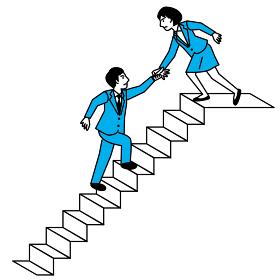 階段を上る男性を助ける女性
