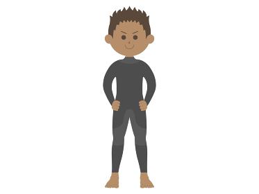 ウェットスーツを着た男性のイラスト