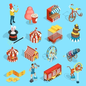 Travel Circus Isometric Icons Set . Travel chapiteau circus classic vintage isometric icons set with tent strongman magician and tiger isolated vector illustration