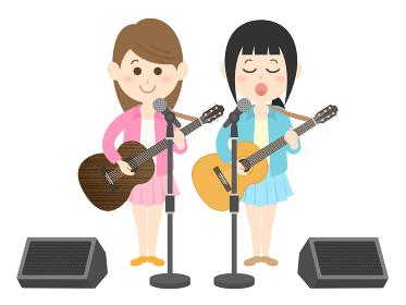 女性ミュージシャンバンドのコンサートのイラスト