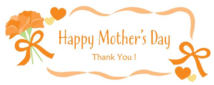 母の日のカーネーションとHappy Mother's Day のタイトル