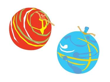お祭りのヨーヨー釣りの赤と青のヨーヨー