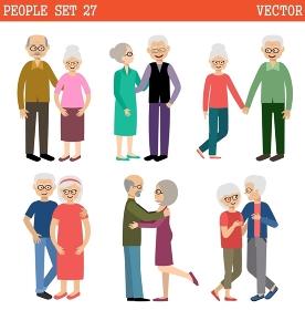 Loving couples of elderly people. Pensioners. Vector