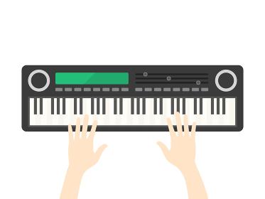 電子ピアノを演奏するイラスト