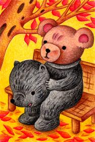 熊の着ぐるみを着るテディベア