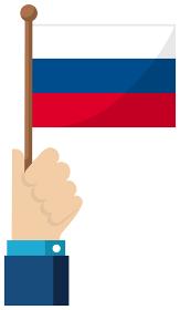 手持ち国旗イラスト ( 愛国心・イベント・お祝い・デモ ) / ロシア
