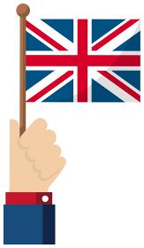 手持ち国旗イラスト ( 愛国心・イベント・お祝い・デモ ) / イギリス・英国