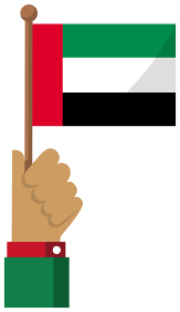手持ち国旗イラスト ( 愛国心・イベント・お祝い・デモ ) / UAE・アラブ首長国連邦