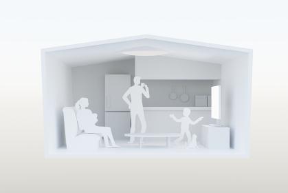 在宅で楽しむ家族のイメージ:3Dレンダリング