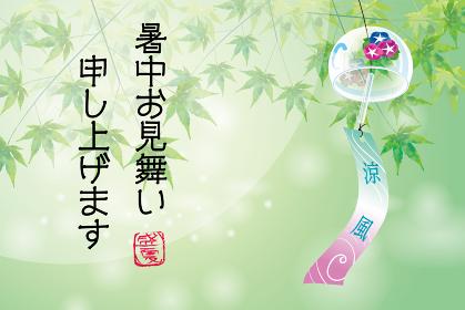 暑中お見舞葉書デザイン(横・筆文字)|緑の背景と楓と朝顔柄の風鈴のある風景|夏のイメージ