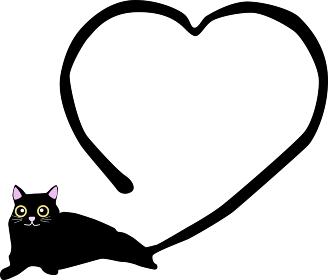 猫のしっぽが可愛いハートのイラスト素材
