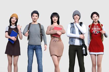 5人の若いカジュアルな服装の男女が横並びで各々ポーズをとっている